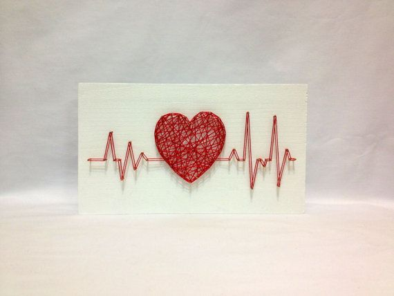String Art Rhythm Heart Beat Sign Wall Art  The size: 8 x 4 inch (20 x 10 cm)  We do work in the style of string art on any theme: dc comics, Marvel, love, city, country, flags, animals, abstract, logos, names, descriptions, dates - any! All our products are exclusively handmade. For each product, we treat ourselves, coloring varnish base only handmade. We use only the highest quality wood, nails, thread, paints, varnishes, etc. It is important that each of our products receive great.  If…
