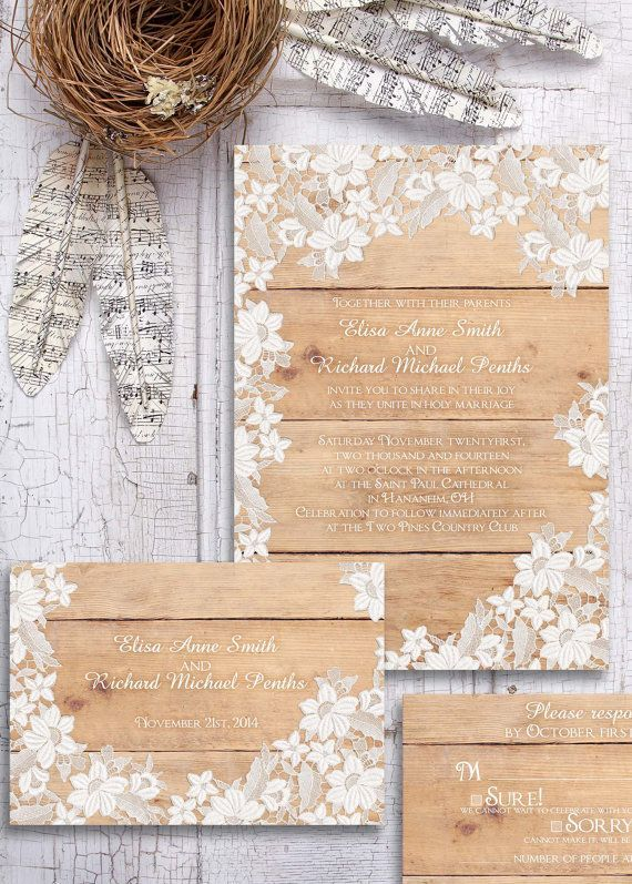Wood and lace wedding invitations #wedding #rustic #chic #weddinginvite #invitations