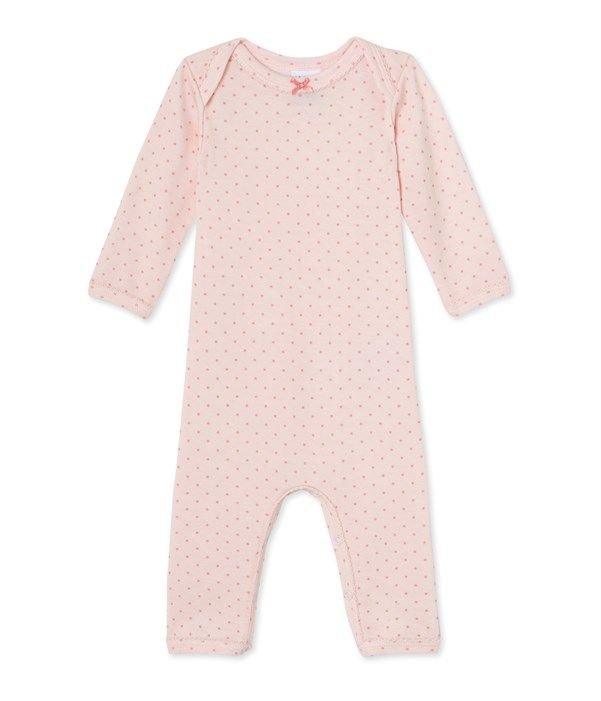Combinaison courte bébé fille en laine et coton Petit Bateau rose