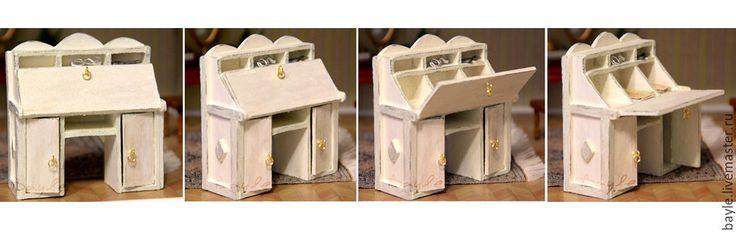 Купить Стол-бюро и/или буфет ручная работа 1:12 - белый, кукольный дом, домик