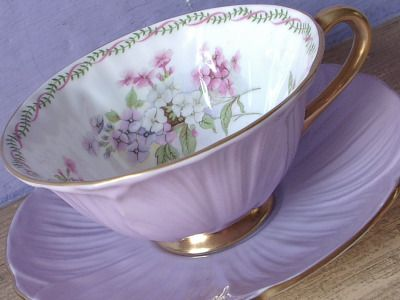 Vintage 1940's Shelley china tea cup and saucer, Lilac purple tea cup, Antique teacup, English bone china