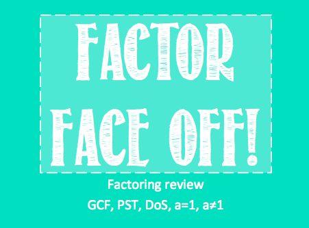 Review Game - Factoring Battle Royale! Factor Face Off http://addtheexponents.blogspot.com