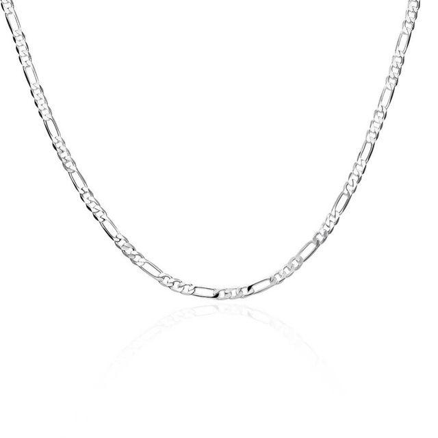 """4 мм 16 ~ 30 """"925 стерлингового серебра Кубинский Снаряженная цепи ожерелья женские мужские плоским Фигаро цепи ожерелье ювелирные изделия"""