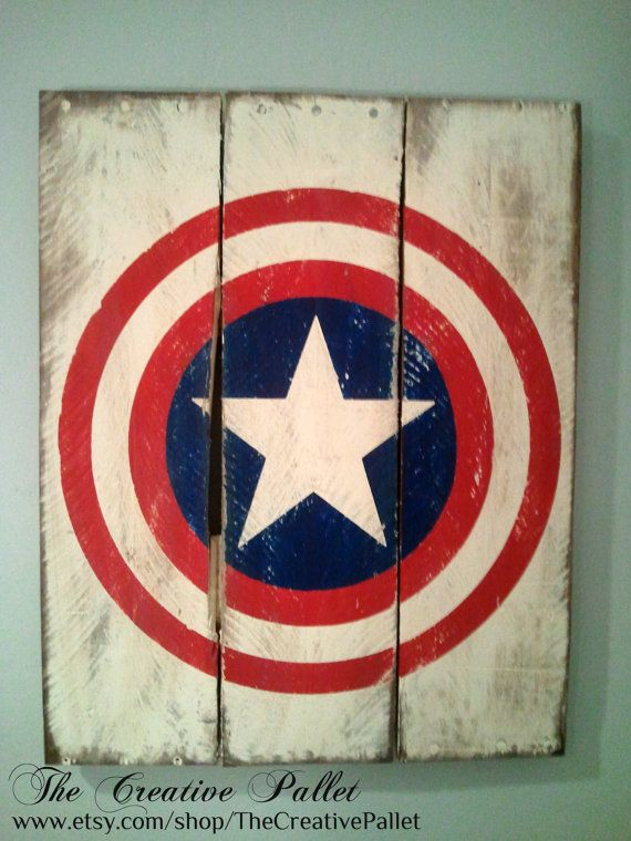 Captain America Vintage Wood Pallet Sign | they sell many other superhero signs too. LOVE!