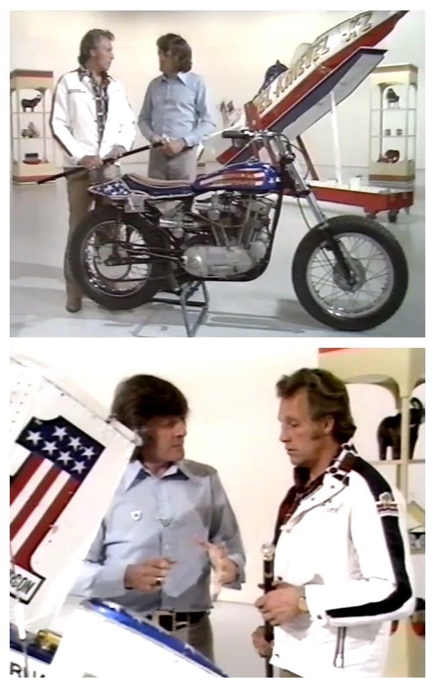 I remember being glued to the TV the day that my hero, Evel Knievel, appeared on BBC TV's BLUE PETER in 1975. He was in Britain to perform a jump at Wembley Stadium in London.