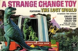 Mattel's Strange Change Machine - Lost World - My brother had this - you heated up a plastic square and it unfolded into a dinosaur.  Later you heated it again and squashed it back into a square.  We loved it!