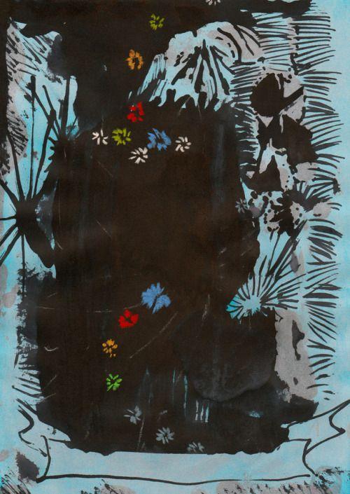 Eduardo Infante Glowing in the dark again. 2017. Tinta y pastel sobre papel. 29 x 21 cm.