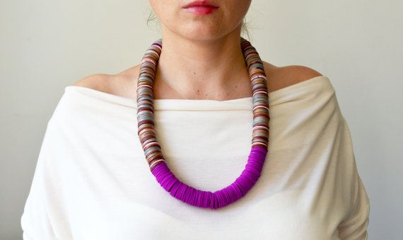 Purple statement necklace/ethnic necklace/purple necklace/fall accessory/ethnic fashion/polymer clay jewelry/fall fashion/long bead