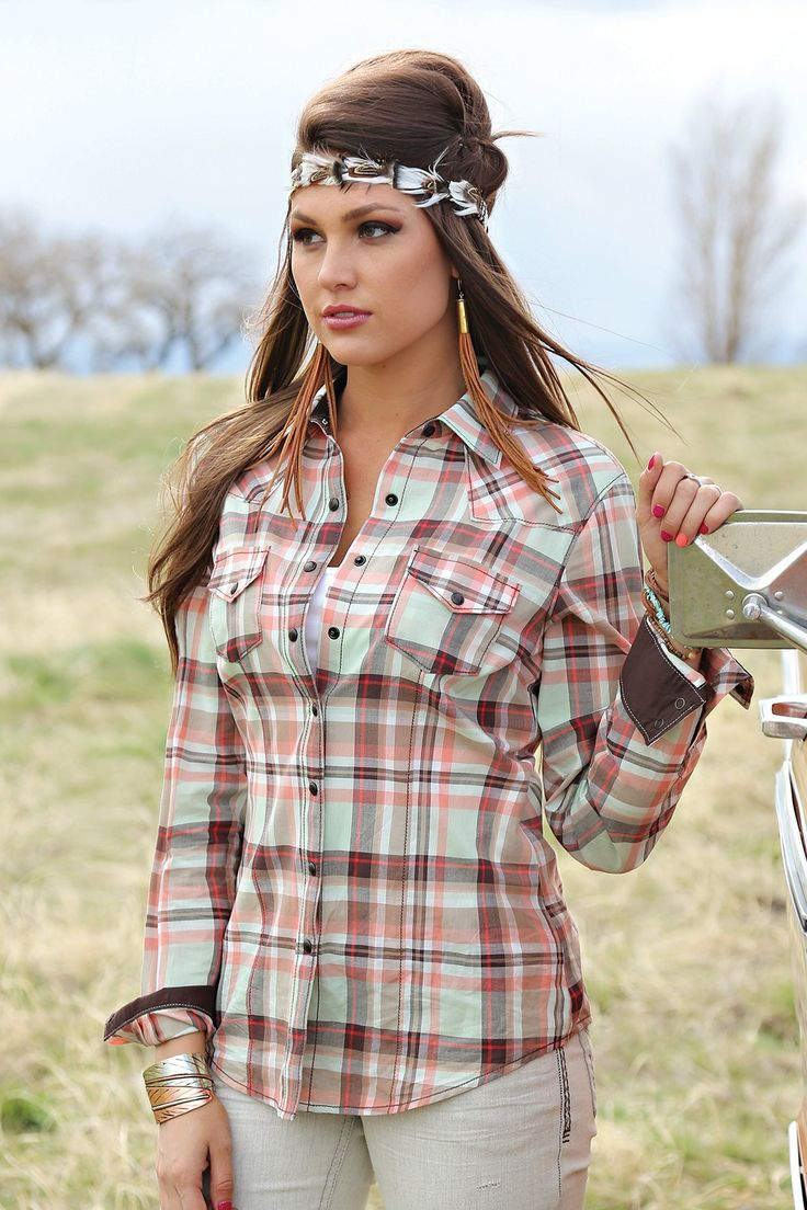 Cruel Girl Women's Brown, Mint and Pink Plaid Snap Up Shirt Ctw9381008