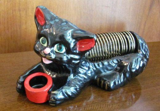 Poste-lettres Vintage mi-siècle Mod Black Cat et porte-crayons - bureau - bureau - organisateur - papier - Japon