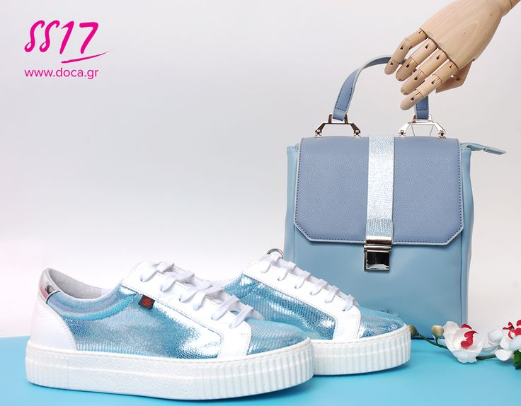 Pastel Fever!   The favorite spring trend in your guarderobe.   Explore the new DOCA Spring-Summer Collection instore or online at www.doca.gr   Light blue backpack | 12377  White sneakers | 72971 www.doca.gr #doca #ss17 #sky #blue #backbag #bags #accessories #campaign #fashion
