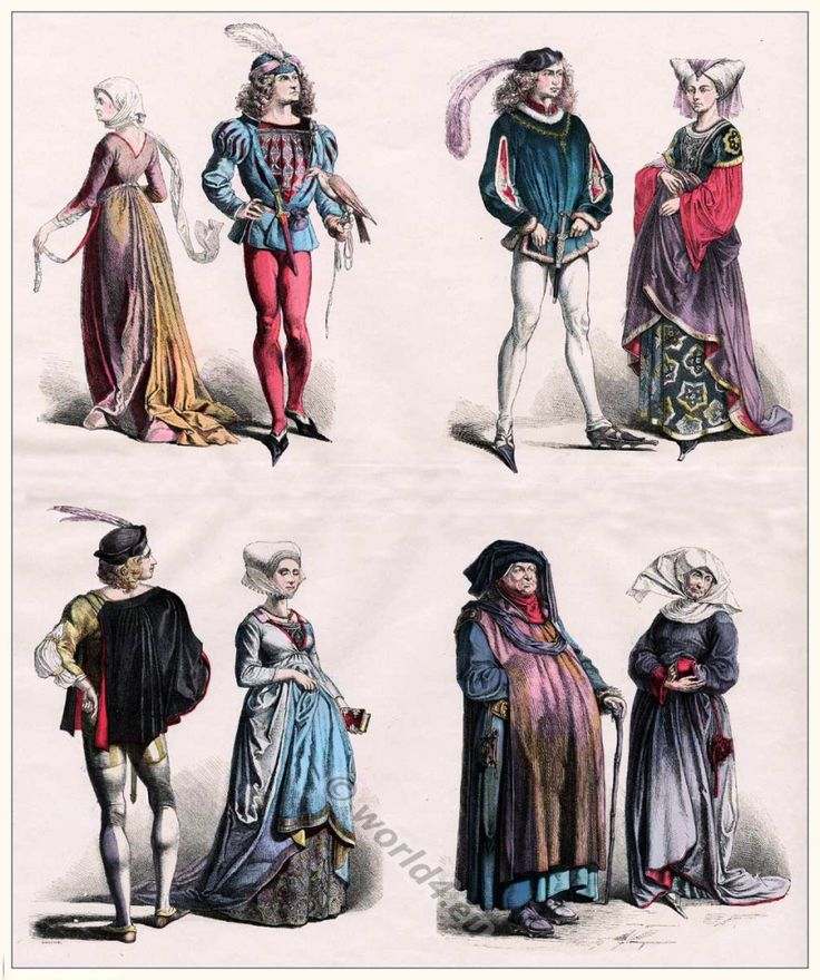 Medieval Clothing. Burgundian fashion. 15th century costumes. Middle Ages court of the Duchy of Burgundy