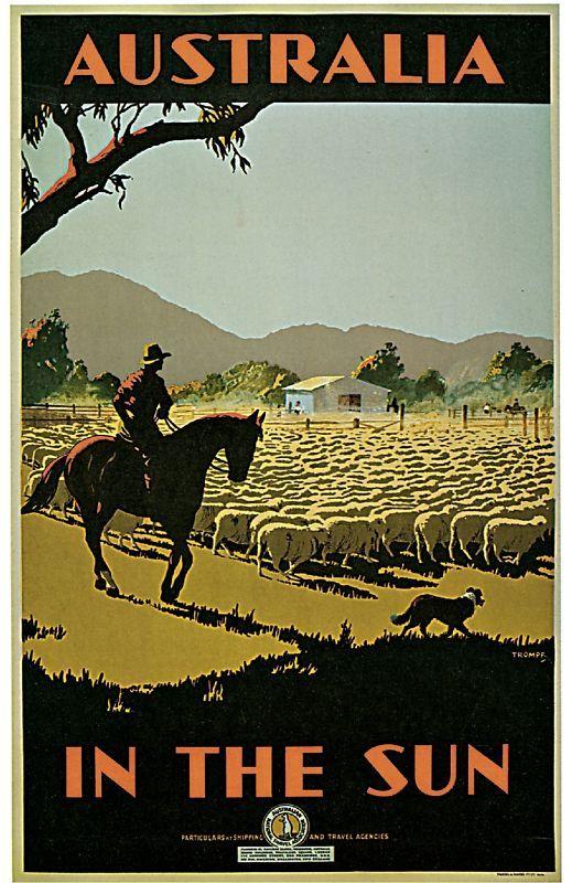 1935 Australia in the Sun Art Travel Poster Print | eBay
