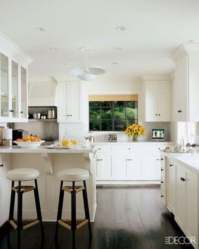 White Kitchen Hardwood Floors: Short Peninsula With Cabinets Across The Walkway