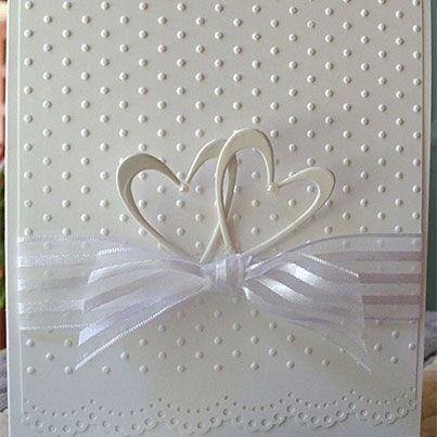 Heart Prints two hearts ribbon emboss dots lace edge