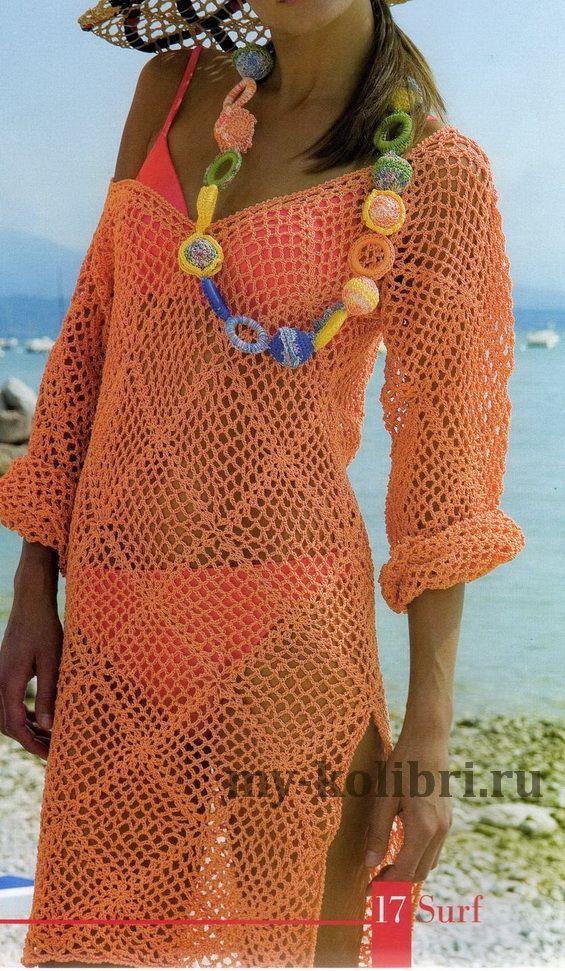 Как связать пляжную тунику крючком узором из ромбов: схема и описание на Колибри. Пряжи понадобится примерно 450-500 г, в зависимости от размера.