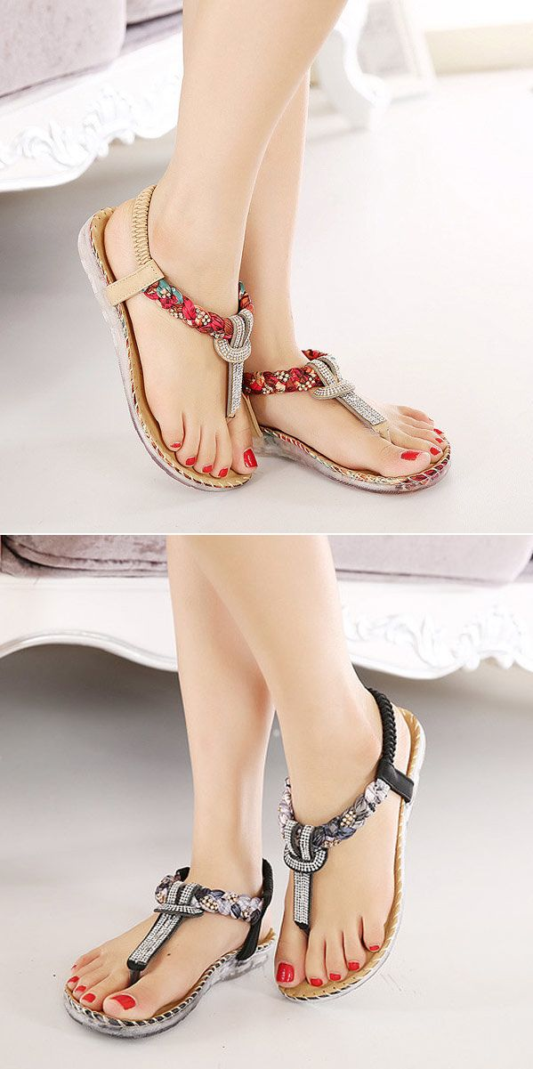 US$18.75 Bohemian Bead Floral Elastic Clip Toe T Strap Slip On Flat Beach Sandals