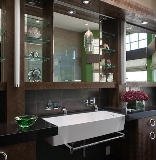 Gold and Black Bathroom with Gold Rivet Medicine Cabinets ...