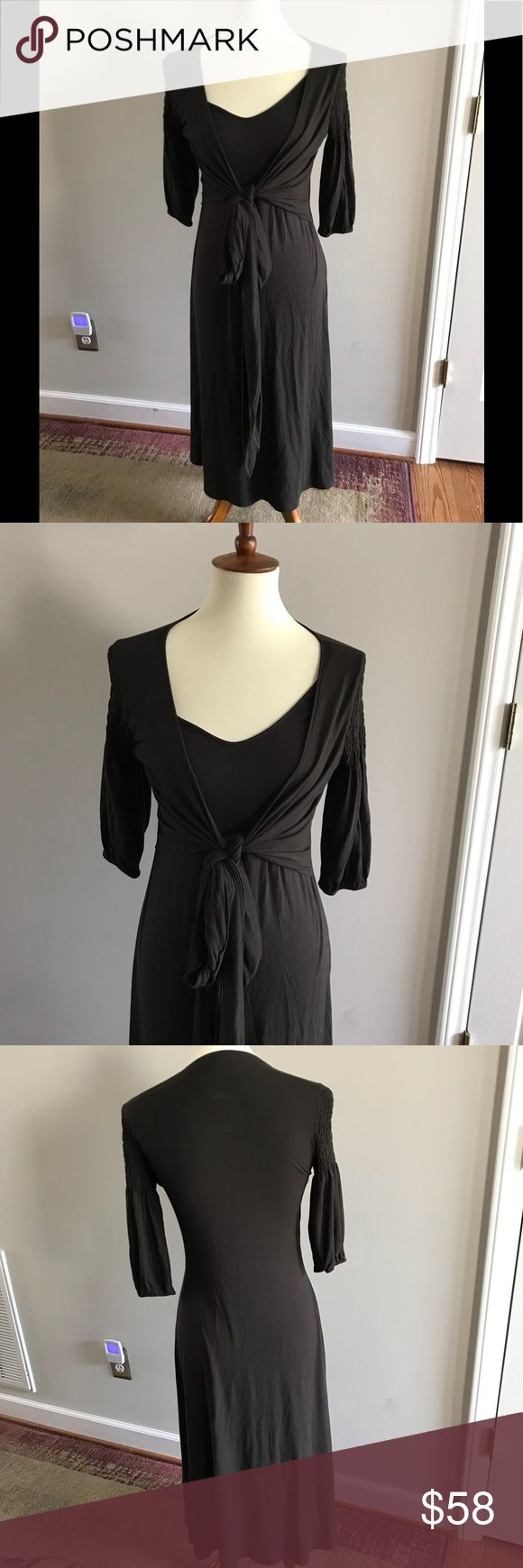 Theory tie front jersey midi dress Pics don't do it justice! Comfy and classy all In one. So soft! Ties in front. Dark chocolate brown. Would be perfect with gold sandals this summer. 95% rayon and5% elastane, has a nice stretch to it. Measures 17.5 inches armpit to armpit and 41 inches long from shoulder. Theory Dresses Midi