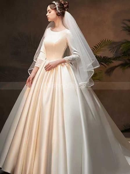 Satin Ball Gown Wedding Dress with Sleeves,Classic Bridal Gown,WD00371
