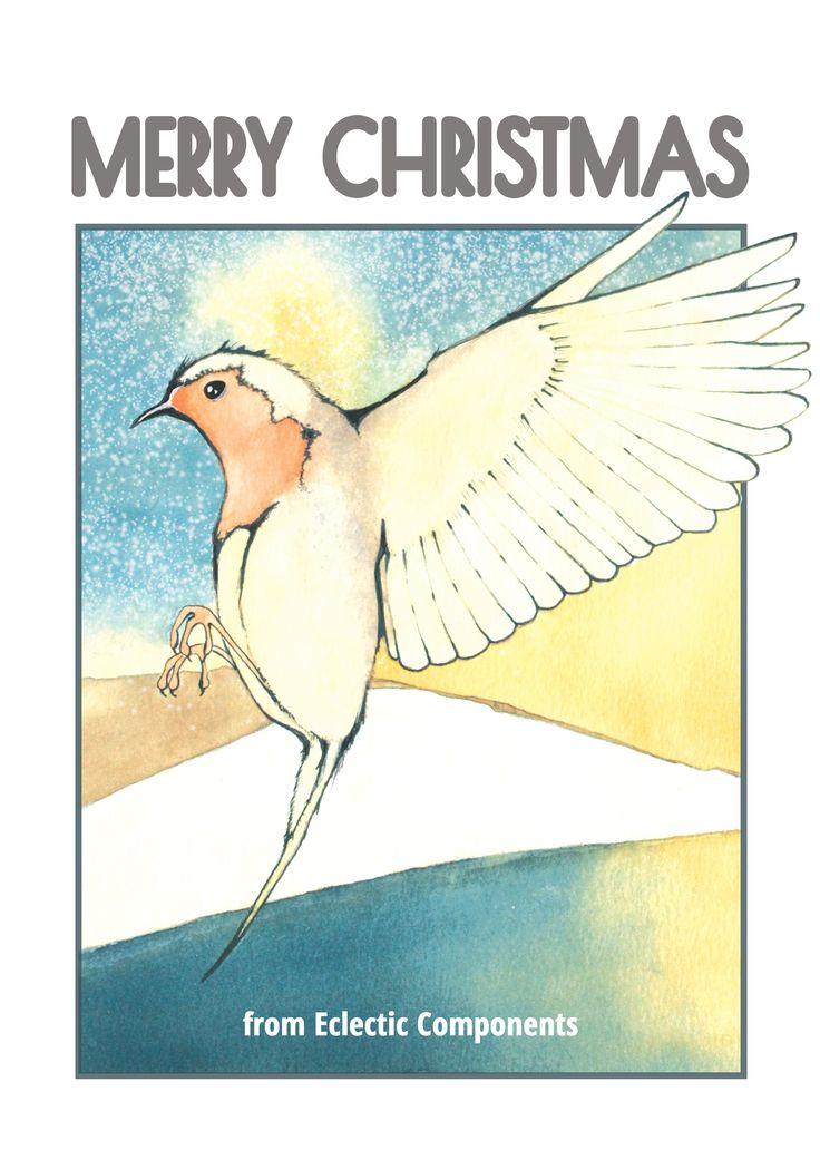 Christmas card design for Eclectic Components. Hand drawn robin in watercolour with Indian Ink outline. From Engine Head Studio.