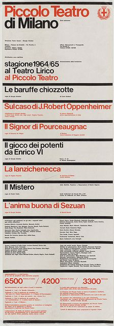Piccolo Teatro di Milano: Massimo Vignelli,1964 http://www.moma.org/collection/browse_results.php?criteria=O%3AAD%3AE%3A6155_number=8_id=1_order=1
