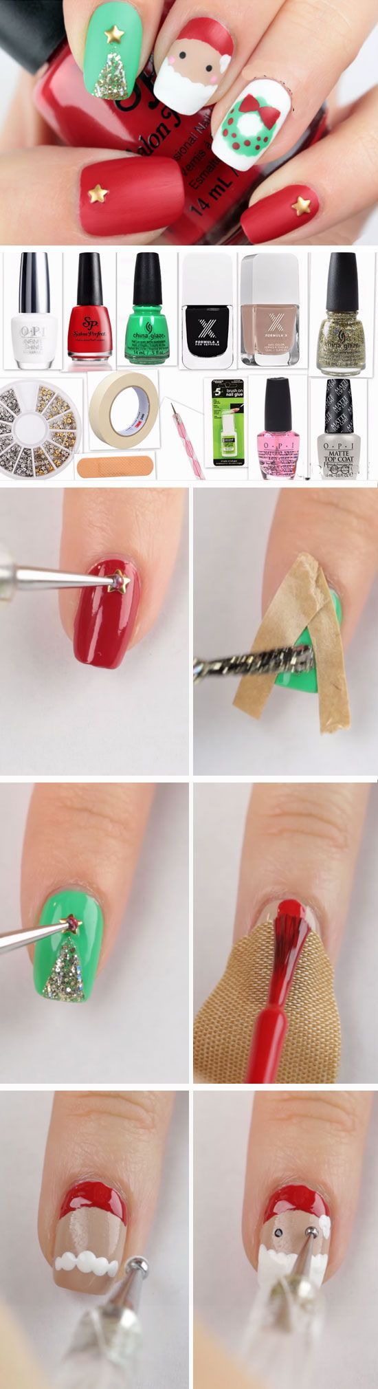 Freehand Matte   Easy DIY Christmas Nail Designs for Kids