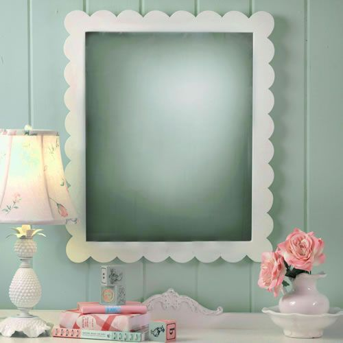 Antique white scalloped mirror mirror mirror room and for White bedroom wall mirror
