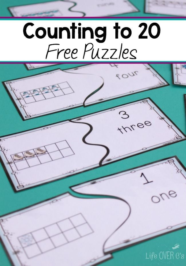 Download these free winter puzzles for counting to 20! Such a fun way  to practice counting and learn about ten-frames.