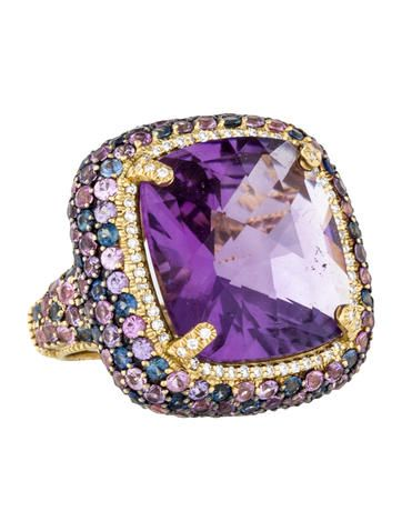 18K yellow gold Judith Ripka cocktail ring with faceted cushion cut amethyst at center and multicolor pavé sapphires throughout.