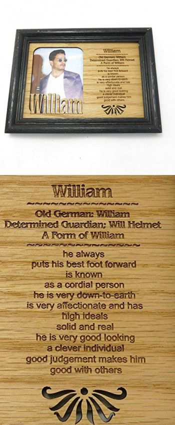 """William, Name profile personalized picture frame size 7"""" x 5"""" , inset 4"""" x 3"""" oak solid wood, made in america."""