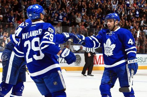 TORONTO, CANADA - MARCH 07:  Nazim Kadri #43 of the Toronto Maple Leafs celebrates a goal with Auston Matthews #34 and William Nylander #29 during an NHL game against the Detroit Red Wings at Air Canada Centre on March 7, 2017 in Toronto, Canada.  (Photo by Vaughn Ridley/Getty Images)