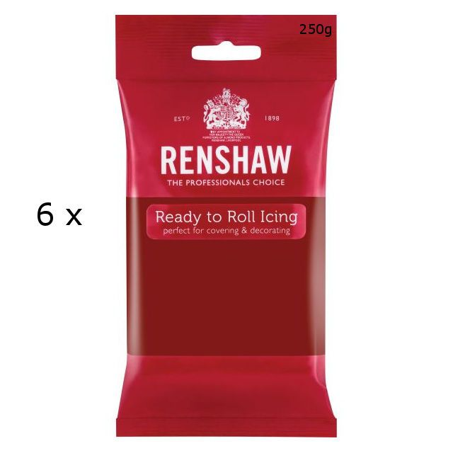 6 X Renshaw Ready To Roll Icing Fondant Cake Regalice Sugarpaste 250G Ruby Red
