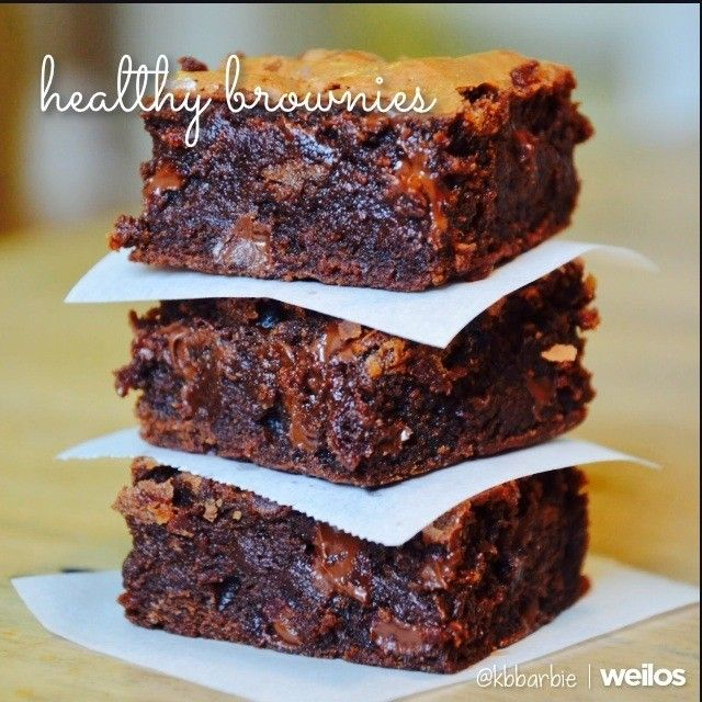 Oo me Oo my- Healthy Brownies!! 1 box Duncan Hines Chewy Fudge Brownie mix  1 1/4 cup unsweetened applesauce Bake for 30-35 minutes @ 350 It cuts the calories down from 180 to 97 AND THEY ARE VEGAN!  Seriously the most amazing brownies!! My boyfriend is a police officer