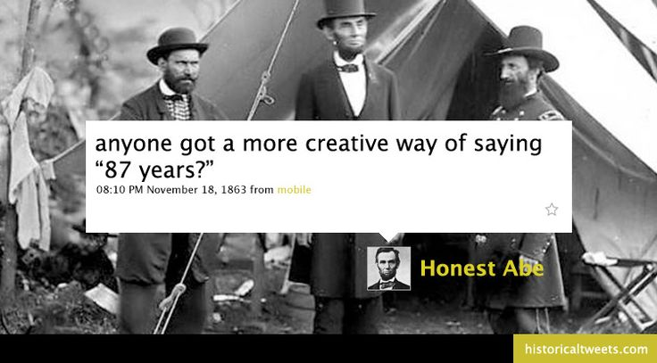 Historical (and hysterical) tweets.Teaching History, History Geek, Lincoln Tweets, Things, Abed Lincoln, Honest Abed, Abed Tweets, Historical Tweets, Historicaltweet Lincoln02