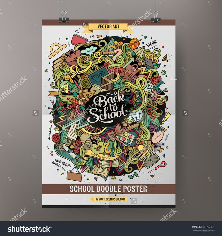 Cartoon colorful hand drawn doodles school poster template. Very detailed, with lots of objects illustration. Funny vector artwork. Corporate identity education design.
