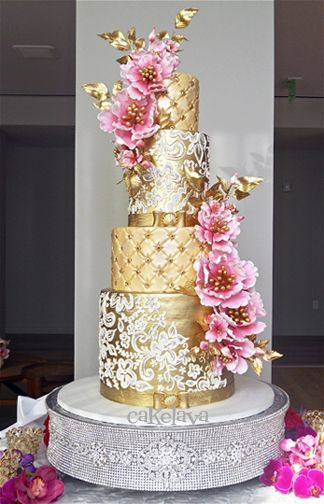 ChelseaY - gold wedding cake with pink flowers