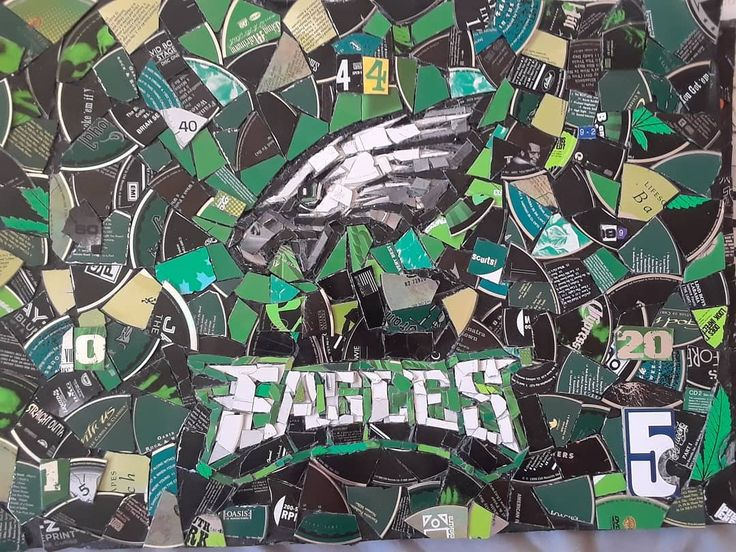 "CDecoupage Eagles. 21""x17"" (For sale) The main logo is surrounded by all 9 retired players' numbers! #art #artist #artwork #philadelphiaeagles #contemporary-art #fineArt #artgallery #gallery #supportart #eagles @philadelphiaeagles #christmas #football #nfl #music #records #recycledart #recycle #games #playstation #movies #film #gogreen #innovation #merrychristmas #future #artoftheday #artofvisuals #nbc #nfl #football"