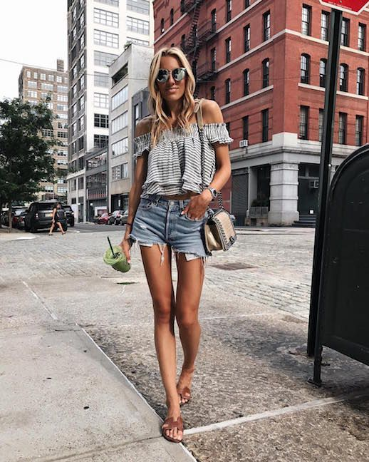 Le Fashion Blog Easy Chic Summer Outfit Off Shoulder Top Denim Cut Off Shorts Brown Flat Sandals