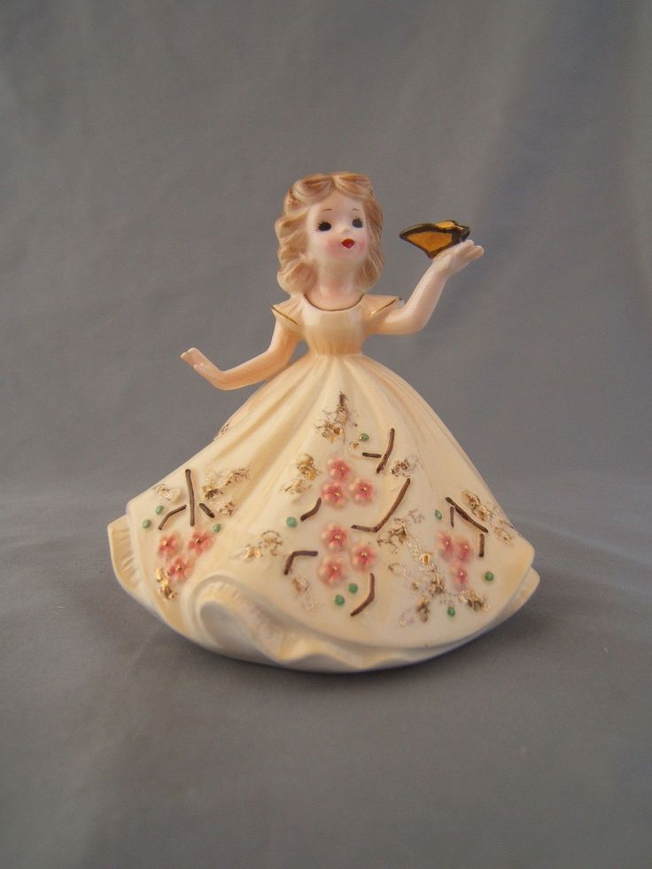 Josef Originals 4'' Figurine Girl with Butterfly on Hand with Peach Color Dress   eBay