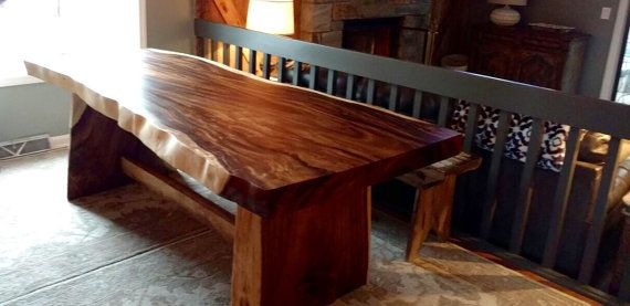 SALE Live edge dining table Live edge with a hand crafted custom trestle base, unique dining table, custom slab table conference table