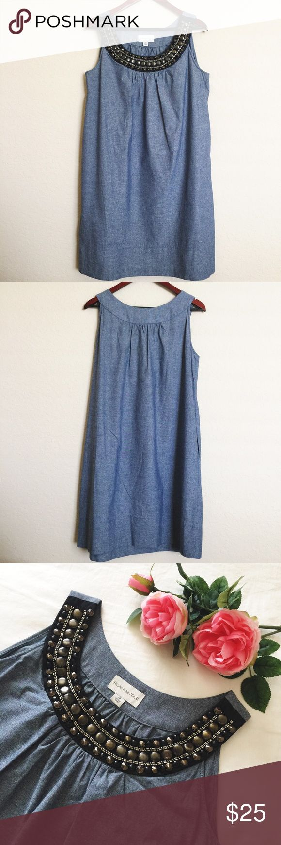 """Ronni Nicole studded collar chambray dress Gorgeous studded collar chambray dress by Ronni Nicole. Size 14. Measures: armpit to armpit 21""""// armpit to bottom 28.5"""". Gently worn and in great condition. Please ask questions 💫 Ronni Nicole Dresses"""