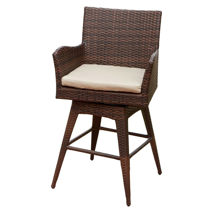 Braxton Wicker Swivel Patio Bar Stool with Cushion - Multi-Brown - Christopher Knight Home, Brown