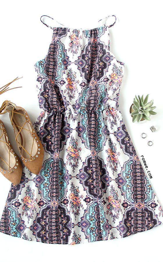 New Summer Dresses White Spaghetti Strap Tribal Print Dress…
