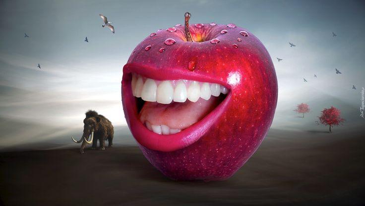 Jabłko, Czerwone, Usta, Zęby, Uśmiech, Drzewo, Ptaki, Mamut, Grafika 2D