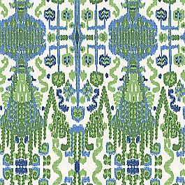 Pure cotton with a lime and kelly green motif accented by cobalt and navy blue. This green & blue ikat fabric is available by the yard and on most Loom custom furnishings.