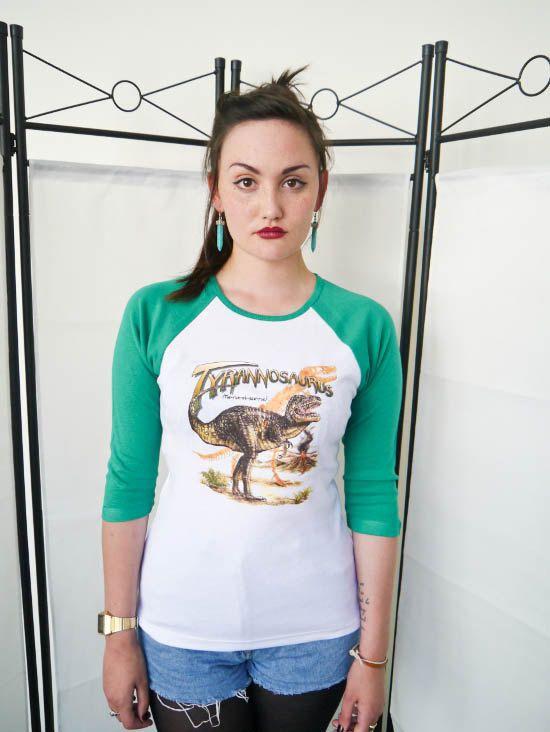 Dinosaur T-Rex Womens Baseball 3/4  t-shirt, Baseball tee, Ladies, Ladies Tee, T Rex Dinosaur top, Dinosaur tee, Dinosaur Shirt, Womens, New
