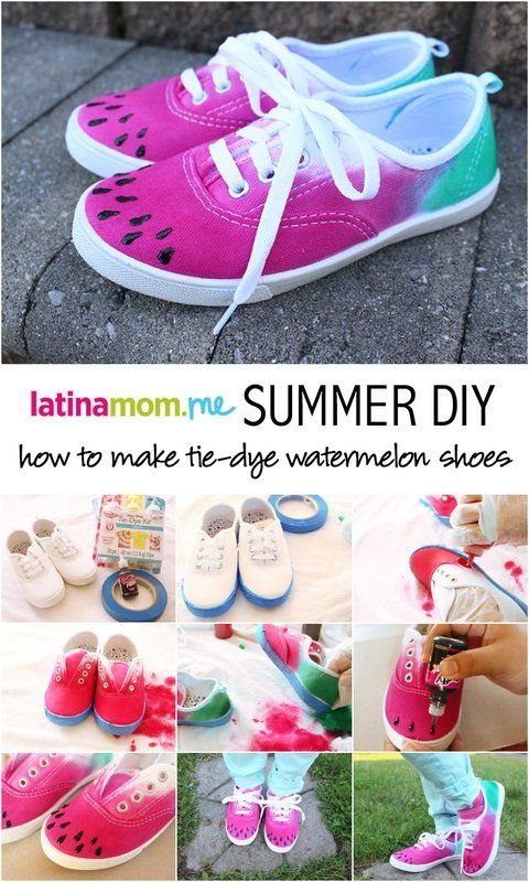 DIY Tie-Dye Watermelon Canvas Shoes are a fun, easy, wearable craft you can do with the kids! Perfect for summer!