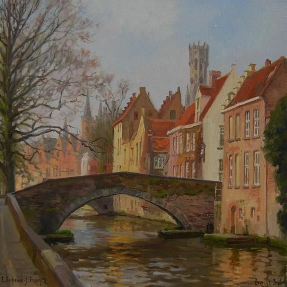 """""""Groenerai Canal in Spring"""" 24"""" x 24"""" O/C Available"""