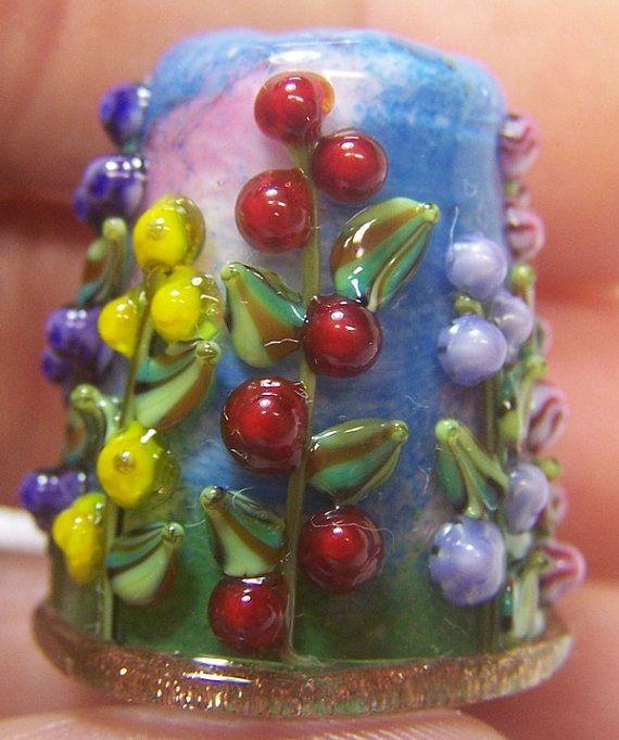 Handmade Lampwork Glass Thimble -Mixed Hollyhocks
